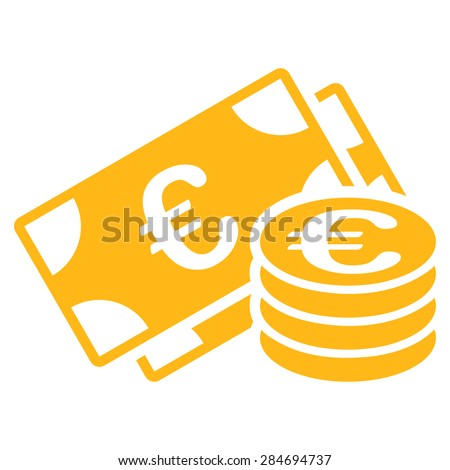 Euro cash from BiColor Euro Banking Icon Set. Glyph style: flat, yellow symbol, rounded angles, white background. - stock photo