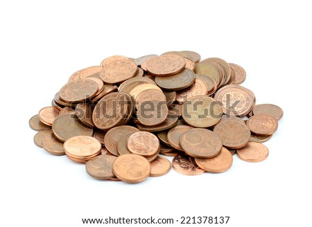 euro cents - isolated on white - stock photo