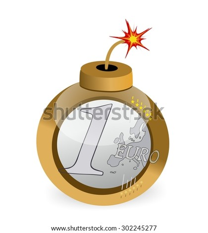 euro coin bomb - stock photo