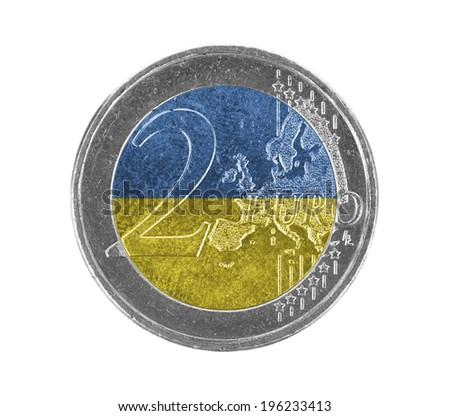 Euro coin, 2 euro, isolated on white, flag of Ukraine - stock photo