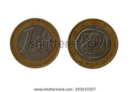 euro coin on white - stock photo