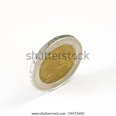 Euro Coin on white background - stock photo