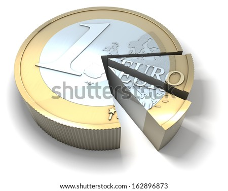 Euro coin sliced like a cake, cut into pieces, 3d rendering isolated on white background - stock photo