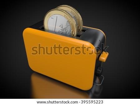 Euro-Coin-Toaster  - stock photo
