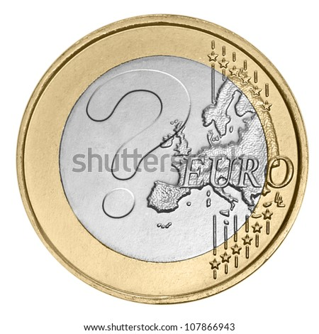 Euro coin with question mark - stock photo