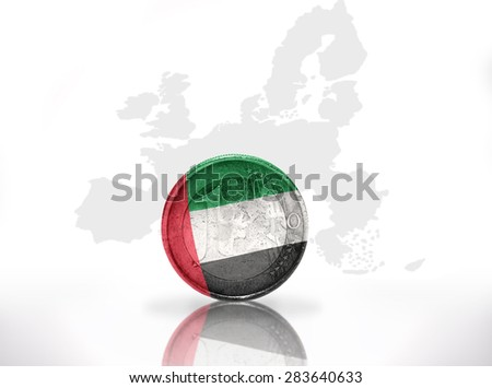 euro coin with united arab emirates flag on the european union map background - stock photo