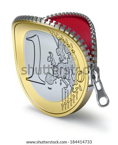 Euro coin with zipper - stock photo