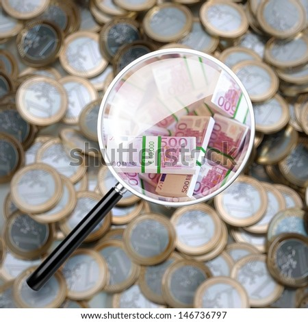 Euro Coins Background Through The Magnifying Glass  - stock photo