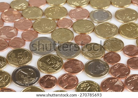 Euro coins - currency of the European Union - stock photo