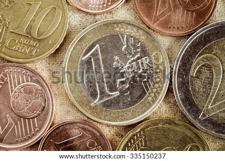 Euro coins currency of the European union.Vintage tone and grain. - stock photo