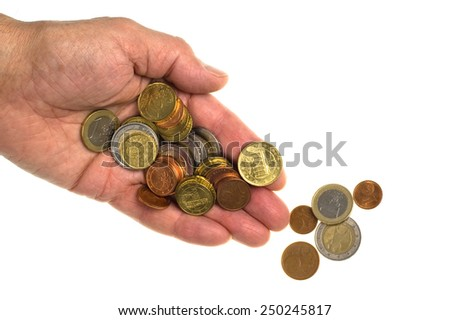 Euro coins in hand on white - stock photo