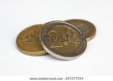 Euro coins isolated with clipping path - stock photo