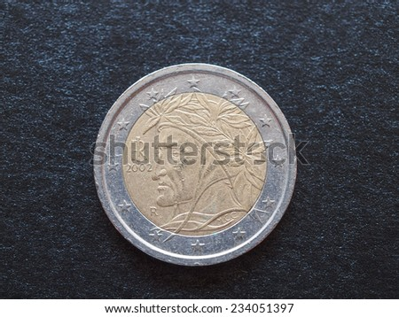 Euro coins issued by Italy to celebrate writers Dante Alighieri (1265-1321) and Giovanni Boccaccio (1313-1375) - stock photo