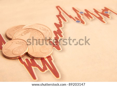 Euro coins on fluctuating graph with space for copy - stock photo