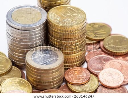 Euro coins on white  background - stock photo
