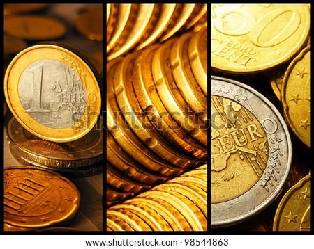 Euro coins set. Macro images. - stock photo