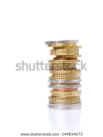 Euro coins. Stack of coins on white backgorund. - stock photo