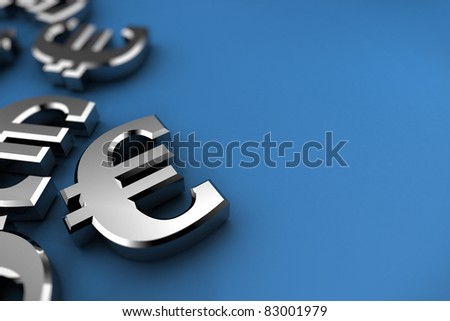 Euro concept with silver dollar symbols over blue background - stock photo