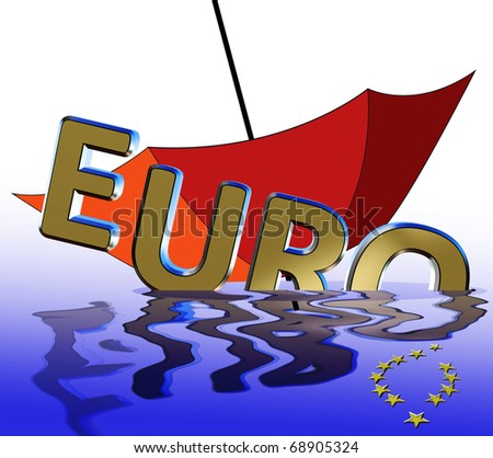 Euro crisis. Symbol for the current euro crises which affects the European Union and the financial markets worldwide. - stock photo