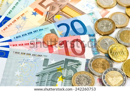 euro currency. coins and banknotes. cash money background - stock photo