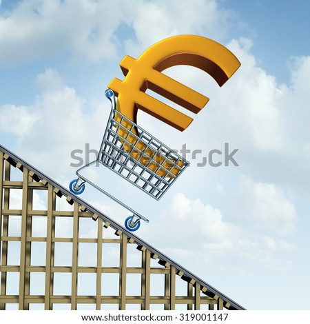 Euro currency decline financial concept as a three dimensional european money icon in a shopping cart going down a roller coaster as an economic symbol for a steep percentage fall in european money. - stock photo