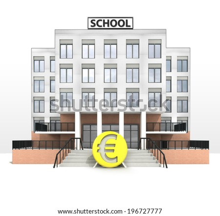 euro currency in front of modern school building illustration - stock photo