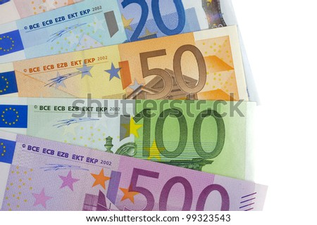 euro currency isolated over white background - stock photo