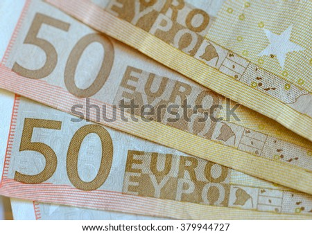 Euro currency, official standard currency of the Eurozone which consists of 19 countries - stock photo