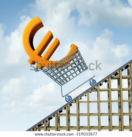 Euro currency rise financial concept as a three dimensional european money icon in a shopping cart going up a roller coaster as an economic symbol for a steep percentage gain in european money. - stock photo