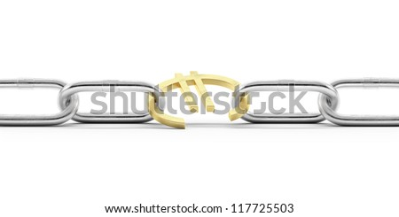 Euro currency symbol in chains - stock photo