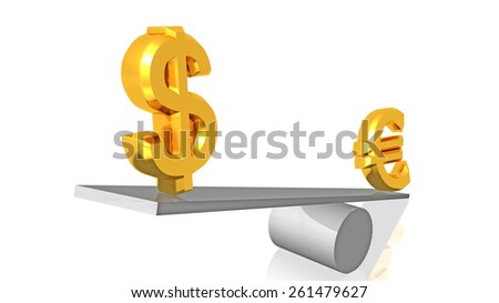 euro decline - euro dollar balance background - stock photo