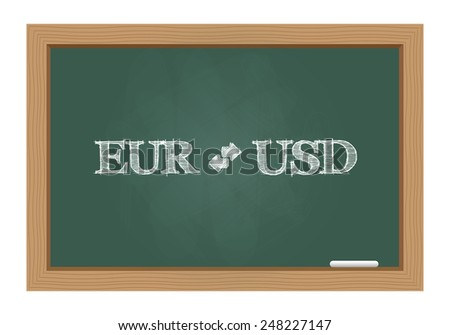 Euro dollar currency exchange text on chalkboard. Vector available. - stock photo