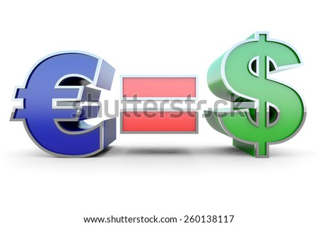 Euro equal Dollar - stock photo