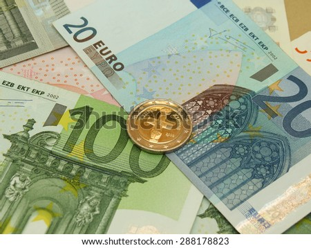 Euro (EUR) banknotes and coins from Cyprus - stock photo