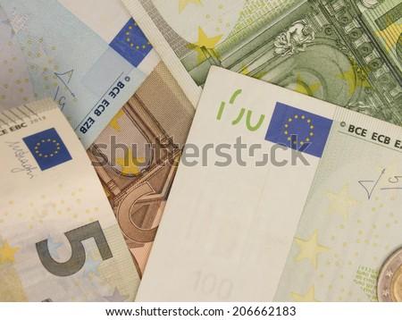 Euro (EUR) banknotes - legal tender of the European Union - stock photo