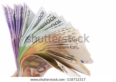 Euro fan 50 100 and 500 bills isolated on white/Euro fan 50 100 and 500 bills/Euro fan 50 100 and 500 bills - stock photo