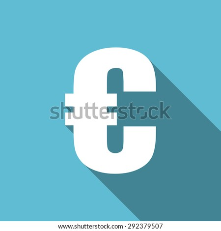 euro flat icon  original modern design flat icon for web and mobile app with long shadow  - stock photo