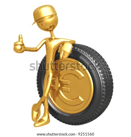 Euro Gold Coin Hubcap - stock photo