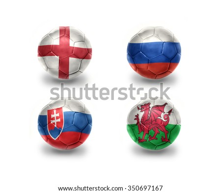 euro group B. realistic football balls with national flags of england, russia, slovakia, wales - stock photo