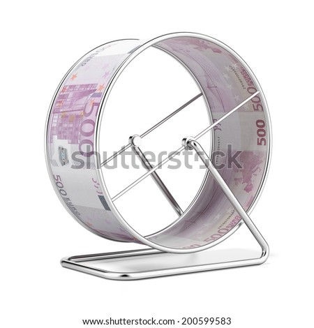 Euro Hamster Wheel  isolated on a white background. - stock photo