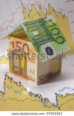 euro house on financial chart - stock photo
