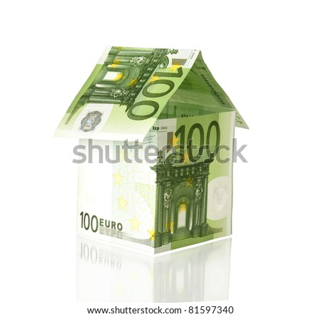 euro house with reflection - stock photo