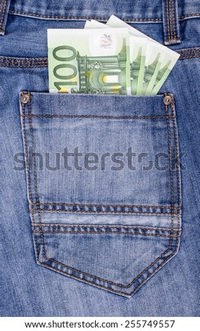 Euro in the Jeans Pocket.  - stock photo