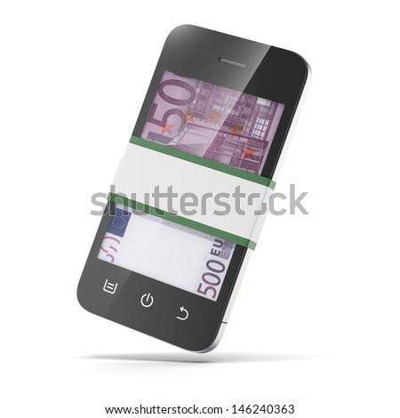 euro inside smart phone - stock photo