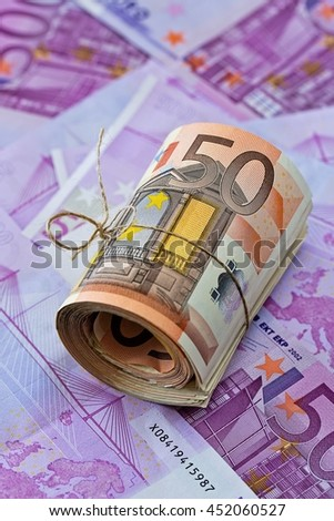 Euro money banknotes. Five hundred bills banknotes.European Currency. - stock photo