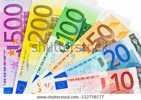 euro money banknotes of the european union. a fan made of euro money isolated against white background. - stock photo