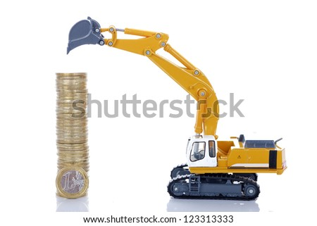 euro money coins with digger isolated on white background - stock photo