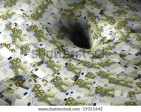 euro money flow in black hole - stock photo