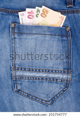 Euro money in the Jeans Pocket.  - stock photo