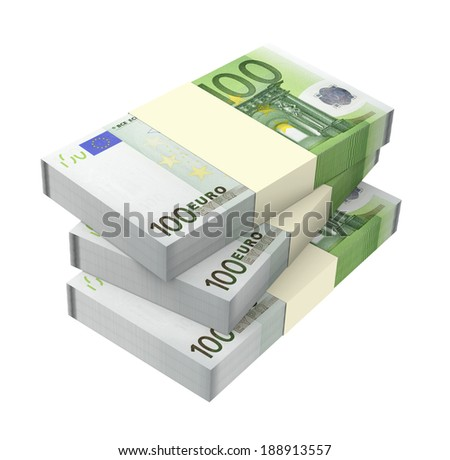 Euro money isolated on white background. Computer generated 3D photo rendering. - stock photo